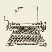 Hand-drawn vintage typewriter. Sketch publishing. Vector illustration